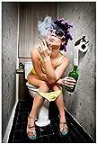 Wallario Acrylglasbild Kloparty - Sexy Frau auf Toilette Zigarette und Schnapsflasche - farbig - 60 x 90 cm in Premium-Qualität: Brillante Farben, freischwebende Optik