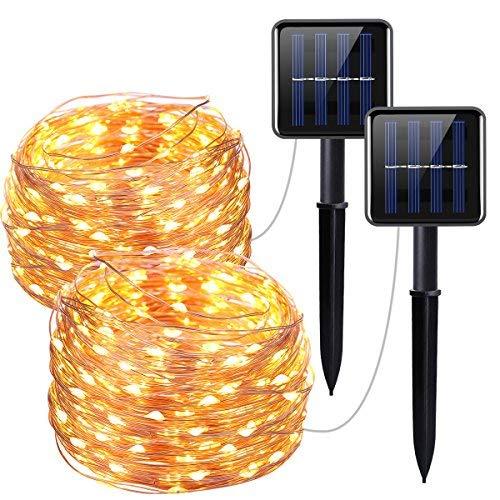 Oria Solar Lichterkette Außenlichterkette Wasserdicht Kupferdraht 100er LED 33ft(10m) IP65 für Hochzeit, Weihnachtsfeier, Weihnachtsbeleuchtung, etc - 2 Pack Warmweiß