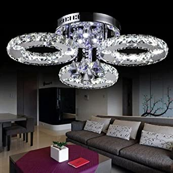 LOCO LED Crystal Flush Mount Lights Electroplating Modern - Bedroom light fittings uk