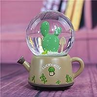 Preisvergleich für Baby-lustiges Spielzeug Nordischer Art-Kaktus in der Kristallkugel-drehenden Spieluhr mit sich hin- und herbewegendem Schnee und Lampe-Beige Unterseite
