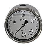 Hydraulik Manometer Glycerin NG Ø 100 Edelstahl bar 1/2' BSPP hinten versch. Druckbereiche Hydraulik, HS18, Ausführung 0 bis 6 bar