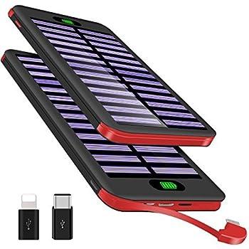 Powerbank 16000mAh, VNOOKY Externer Akku Battery Pack Mit(Lighting U0026 Micro  U0026 Type C) 3 Input Und Integriertem 2.4A Micro Kabel Tragbares Solar  Ladegerät ...