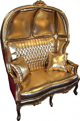 Barock 2er Ballon Sofa Gold Lederoptik/Gold mit Bling Bling Glitzersteinen - Wohnzimmer Couch Möbel Lounge Hochzeit