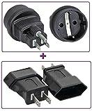 1 x Strom Netzadapter, USA Stecker auf Schutzkontakt Buchse, Farbe: schwarz + 1 x Strom Netzadapter, USA Stecker 2pol auf Euro-Buchse , Farbe: schwarz
