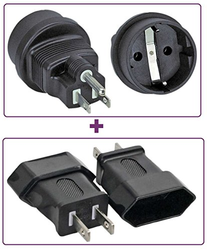 1 x Strom Netzadapter, USA Stecker auf Schutzkontakt Buchse, Farbe: schwarz + 1 x Strom Netzadapter, USA Stecker 2pol auf Euro-Buchse, Farbe: schwarz