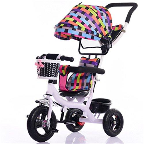 Vélo pour enfants Enfant à l'intérieur de l'extérieur Petit vélo de bicyclette Vélo de fille à vélo pour 7 mois -6 ans Bébé Trois roues Chariot avec auvent, pneus en caoutchouc massif / roue arrière Frein à double Chariot bébé