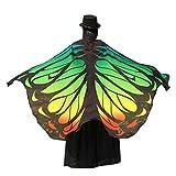 OVERDOSE 197 * 125CM Frauen Weiche Gewebe Schmetterlings Flügel Schal feenhafte Damen Nymphe Pixie Kostüm Zusatz (197 * 125CM, Grün2)
