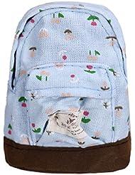 Tongshi Mini lona florales Mochila Mujeres Niñas Niños barato bolsa de la moneda (Cielo azul)