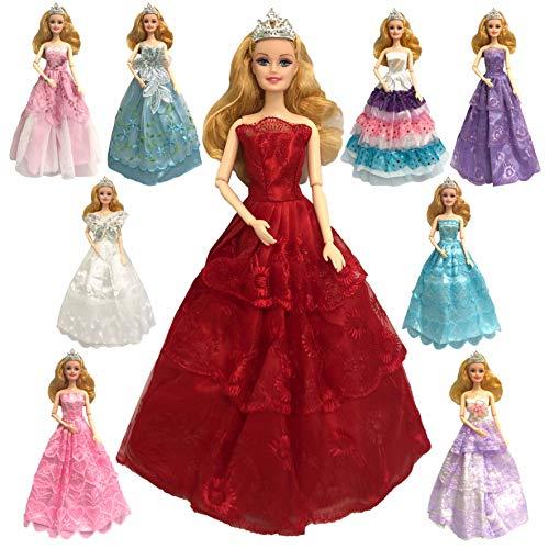5c552d75baef CZC GIFT Lotto 6 PCS Moda Abiti Fatti a Mano Vestito per Bambola Barbie  Regalo Natale
