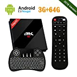 UKSoku EstgoSZ Android 7.1 3GB 64GB 4K TV Box con Amlogic S912 Octa Core CPU Smart Set top box Support Dual WiFi 2.4G / 5G Bluetooth 4.1 1000M LAN 3D H.265 con Wireless Mini Tastiera Retroilluminata