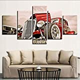 Qwerlp Canvas Wall Art Pictures Home Decor 5 Pieces Hot Rod Red Front View Wheels Paintings Living Room Hd Prints Car Poster Framework