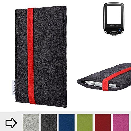 flat.design Handy Hülle Coimbra mit Gummiband-Verschluss für Freestyle Libre - Schutz Case Smartphone Etui Filz Made in Germany in anthrazit rot - passgenaue Handytasche für Freestyle Libre