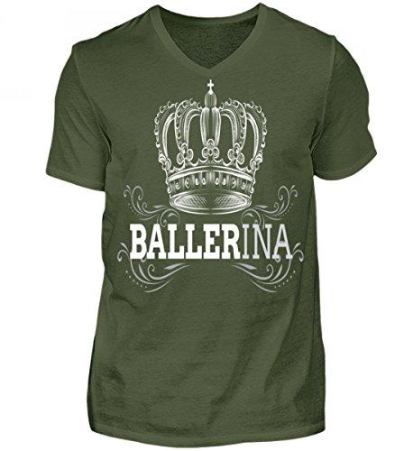 Hochwertiges Herren V-Neck Shirt - Ballerina Armeegrün