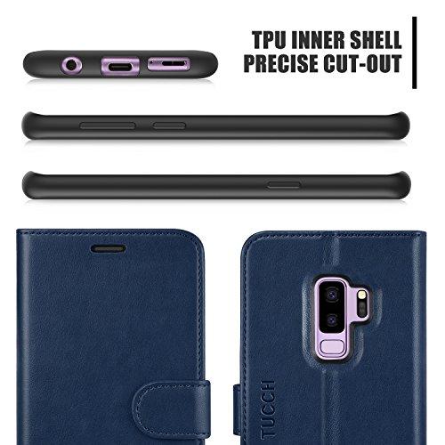 TUCCH Custodia Galaxy S9 Plus, Custodia Cover Galaxy S9 Plus in Pelle con Interno TPU Antiurto, Supporto Stand, Carta Fessura e Protettiva Flip Wallet Cover per Galaxy S9 Plus 2018 – Blu