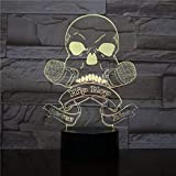 BFMBCHDJ 3D Hip Hop Musik Schädel Nie Sterben Kinder Schlaf Dekor Led Nachtlichter Modellierung 7 Farbe Atmosphäre Leuchte Schreibtischlampe