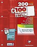 Clairefontaine - Ref 65818C - Un Bloc de Cours Encollé Grand Côté 200 Pages + 100 Gratuites Perforées 4 Trous Ligné avec Marge A4 Vendu à l'Unité