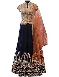 Swara Fashion Women's Banglori Silk With Blouse Piece Lehenga Choli(SFP-241_Cream, Black)