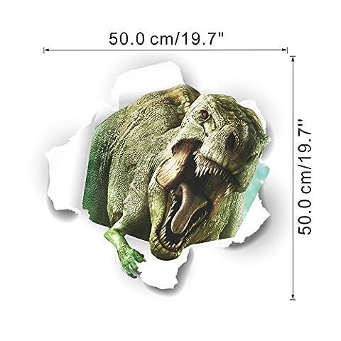 zuolanyo Ulan stéréoscopiques 3D Motif dinosaure Sticker mural enfants Chambre Stickers Muraux Salon fenêtre verre décoratif amovible Stickers muraux Espace Décor Wall Sticker