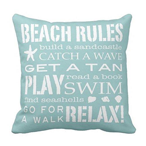Kissen Fall Bezüge mit Reißverschluss quadratisch Beach Rules by the Seashore Leinwand Accent Kissen Kissenbezug für Sofa 45,7x 45,7cm Couch Kissenbezug aqua Blaugrün Weiß -
