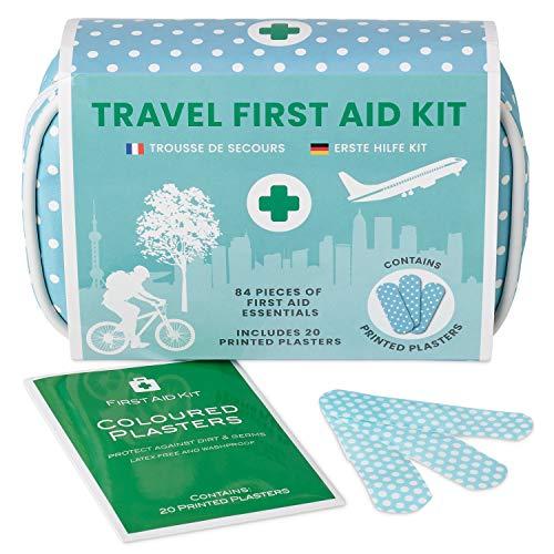 Yellodoor 84 Stück Mini Reise Erste Hilfe Kit. Enthält Schere, Verbrennungsgel, wasserdichte Putze, Medizinische Handschuhe, Antiseptische Tücher und chirurgisches Band. Für Zuhaus 100% Vegan -