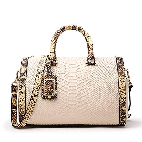 ZPFME Handtaschen Der Frauen Boston Handtaschen Serpentine Mädchen Partei Retro Damen Art Und Weiseschulterbeutel Handtasche Kurierbeutel Rindleder Damebeutel White