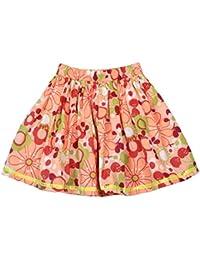 ShopperTree Orange Floral Skirt for Girl's