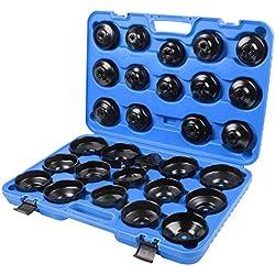 SLPRO® 31 pièces pour filtres à huile Coffret de clés pour filtres à huile 31pièces pour desserrer et resserrer les cartouches des filtres à huile avec mallette incluse.