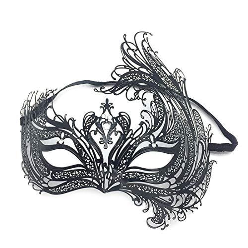 VJUKUBCUTE Schwarz Sexy Frauen Vintage Maskerade Kostüm Masken Shiny Strass Venezianischen Eyemask-Halloween Karneval Party Maske Halloween Frauen Cosplay Mode
