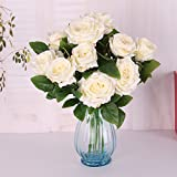 Generic Groß Rose Blumenköpfe , Künstlichen Rose Blumen Pflanze aus Kunstseiden DIY Dekor - Weiß, 54cm