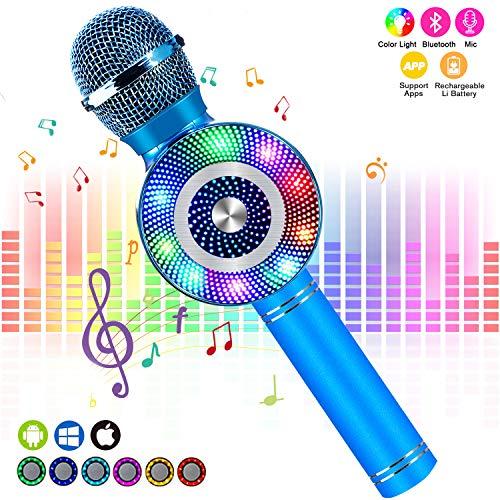 Karaoke mikrofon kinder, FishOaky Drahtlose Bluetooth Mikrofon mit Lautsprecher für Sprach- und Gesangsaufnahmen, kompatibel mit Android/IOS (Blue)