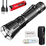 Klarus 360X3 Tactical Flashlight Ultra Bright 3200 Lumen CREE XHP70.2 P2 LED Tragbare EDC-Taschenlampe Wiederaufladbare USB-Taschenlampen, mit 18650 Batterie + BanTac USB Light + Batteriefach