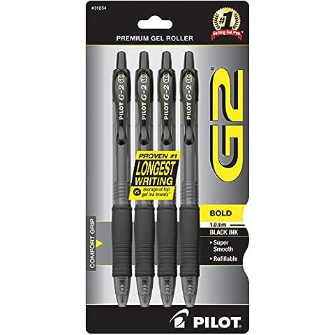 Pilot Pen G2 Premium Gel Rolling Ball Pen Bold 1.0mm Black, Acrylic, Multicoloured, 2-Piece