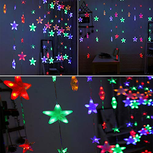TianranRT Sterne Vorhang Lichter 40 Sterne Lichter Fenster String Lichter Stecker Vorhang String (Mehrfarbig)