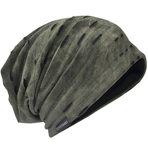 HISSHE Unisex Jersey Slouch Mütze Dünne Sommer Skullcap (9C-Grün) Knit Slouch Beanie