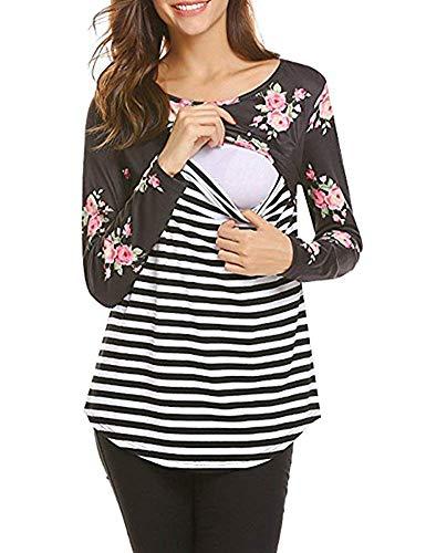 Damen Umstands Still T Shirt Elegante Baggy Stil Blumendrucken Splice Party Langarm Streifen Still BH Schwangerschaft Still BHS Ohne Nahtlose Schwangeren T Shirt (Color : Schwarz, Size : 2XL) -