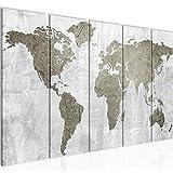 Bilder Weltkarte World map Wandbild 150 x 60 cm Vlies - Leinwand Bild XXL Format Wandbilder Wohnzimmer Wohnung Deko Kunstdrucke Braun 5 Teilig - MADE IN GERMANY - Fertig zum Aufhängen 104356b