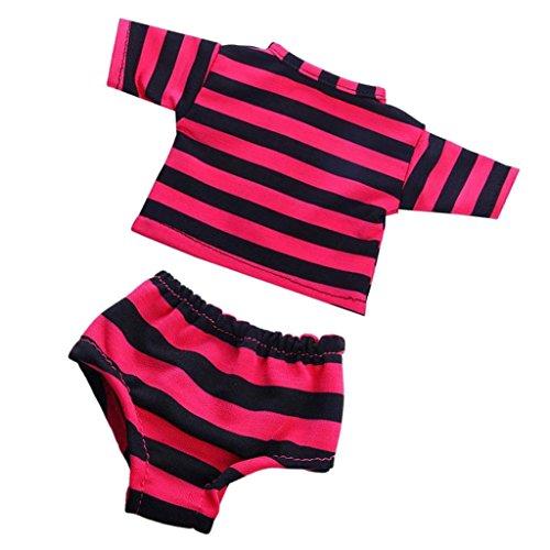 MagiDeal 2pcs/ Set Modisch Puppenkleidung für 18'' American Girl - Gestreiftes T-Shirt & Unterwäsche - Rosa & - Puppenkleidung Unterwäsche-set