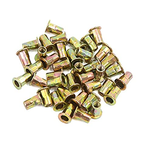 sourcingmap® 40 Pcs M4 Bronze Tone Carbon Steel Thread Half