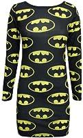 Oromiss Womens Batman Dresses, Black, M/L