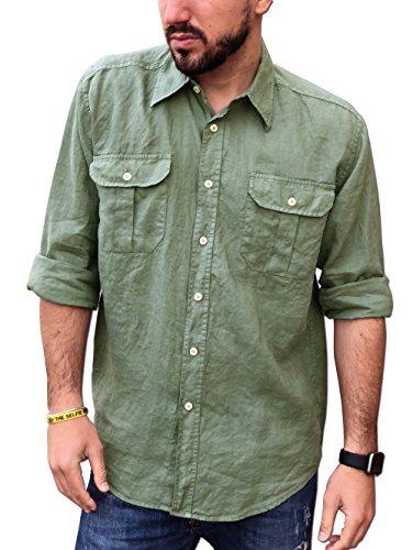 Camicia puro lino uomo casual doppio taschino (xxxl, verde militare)