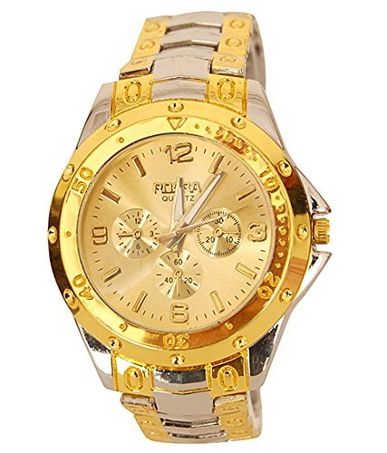 A R Sales Golden Silver Analog Watch For Men