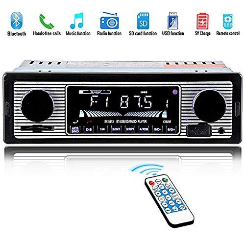 Autoradio für Bluetooth, Car Stereo, Single Din, 60Wx4-Freisprecheinrichtung, FM-Radioempfänger, USB / SD / AUX-Anschluss, Unterstützung für MP3 / WMA / WAV, Autoradio mit zwei Reglern