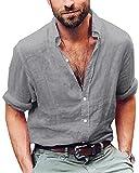 ShallGood Camicia Miscela di Cotone Casual per Uomo, Camicetta Allentata Traspirante Camicetta a Maniche Lunghe Morbida Camicia da Uomo Collare Stand Standar M-4XL