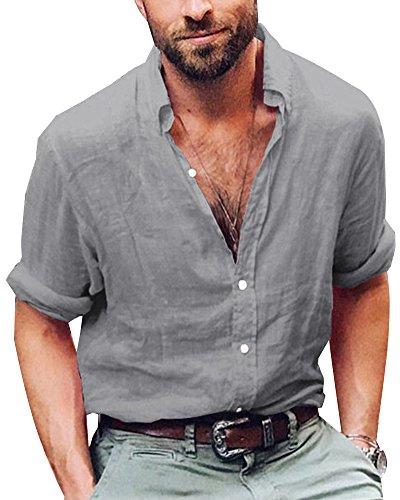 Shallgood uomo camicia regular in lino collo alla coreana uomo sartoriale 100% puro lino bianco casual elegante a grigio x-large