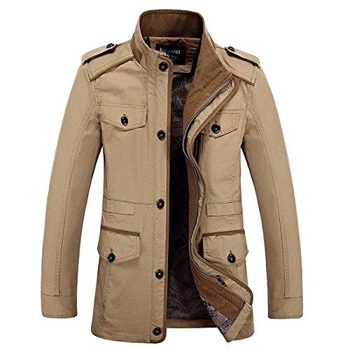 Hdh, giacca militare da uomo, aeronautica, a maniche lunghe, modello aderente, leggera e casual, in cotone, con cerniera, parka, trench, multi tasche khaki uk s (etichetta l)