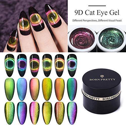 BORN PRETTY 9D Galaxy Cat Eye Nail Gel Magnet Nagellack Chameleon Magnetic Soak Off UV/LED Nail Varnish 5ml Manicure Gel Lacquer 6 Boxes