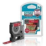 Dymo 1978366 D1 Hochleistungs-Etikettenband (für LabelManager-Etikettendrucker, weiß auf rot, 12mm B x 3 m L) 1 Kassette