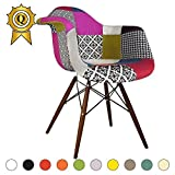 SALE! 1 x Design Dining Chair Eiffel Style Walnut Legs and Seat Color Color Patchwork Mobistyl® DAWD-PC-1