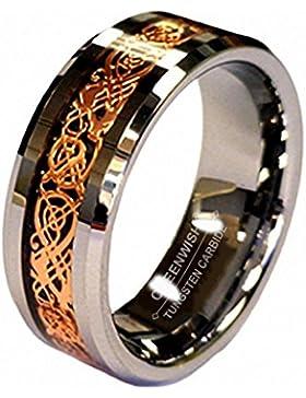 18K Rosen Gold Überzug Keltischer Drache Rille 8mm Wolframkarbid Hochzeitsband Verlobungsring with Ringschachtel