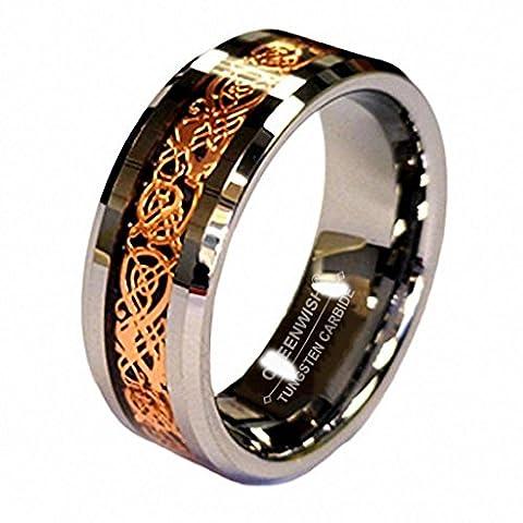 18K Rosen Gold Überzug Keltischer Drache Rille 8mm Wolframkarbid Hochzeitsband Verlobungsring with Ringschachtel Größe 12.5